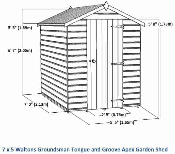 7x5 premier groundsman apex shed no windows overall dimensions