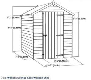 7x5 Waltons Overlap Apex Wooden Shed Overall Dimensions