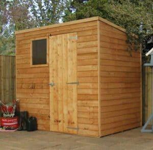 7x5 Waltons Overlap Pent Wooden Shed Closed Door