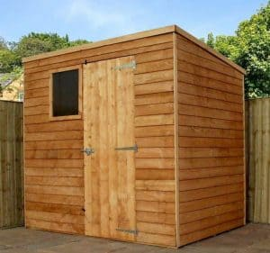 7x5 Windsor Overlap Pent Garden Shed Closed Door