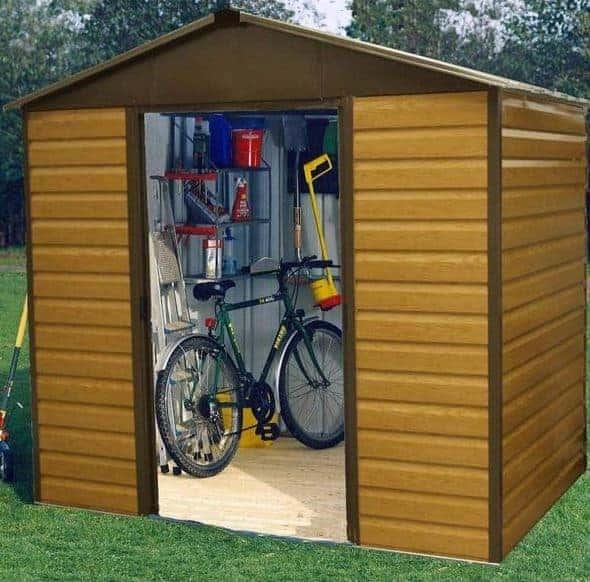 8 x 6 86WGL Yardmaster Wood Grain Apex Metal Shed