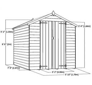 8 x 6 Overlap Apex Shed Sustainable Homes Code Compliant Overall Dimensions