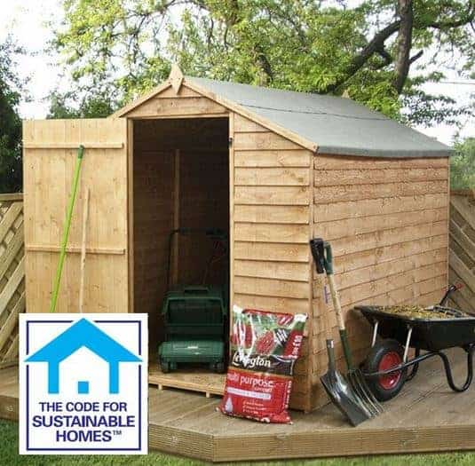 8 x 6 Overlap Windowless Apex Shed Sustainable Homes Code Compliant