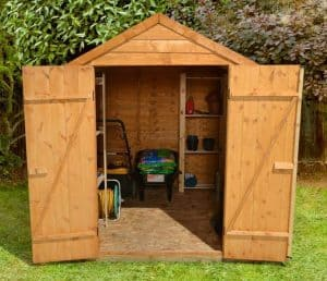 8' x 6' Shed-Plus Classic Overlap Double Door Shed Front View Double Open Doors