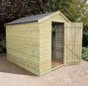 8' x 6' Shed-Plus Heavy Duty Shiplap Wooden Shed Single Door Open