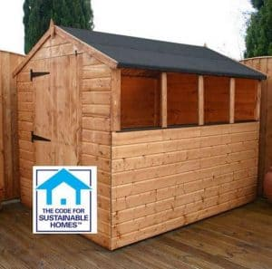8 x 6 Tongue & Groove Apex Shed Sustainable Homes Code Compliant