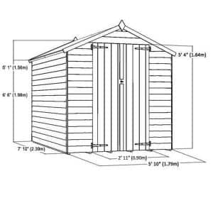 8 x 6 Waltons Overlap Apex Wooden Shed DD Overall Dimensions