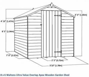 8 x 6 Waltons Ultra Value Overlap Apex Wooden Garden Shed Overall Dimensions
