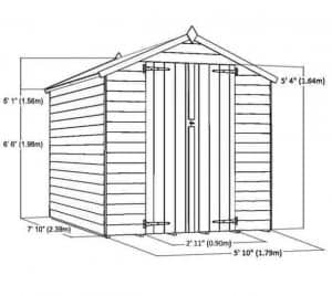 8 x 6 Waltons Windowless Overlap Apex Wooden Shed Overall Dimensions