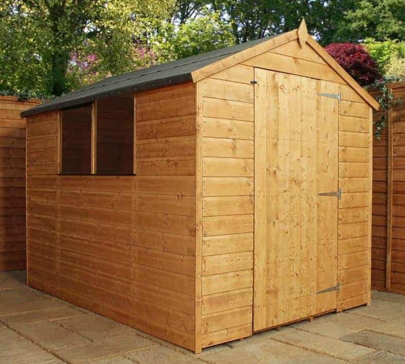 8 39 x 6 39 windsor shiplap large door wooden garden shed for Garden shed large