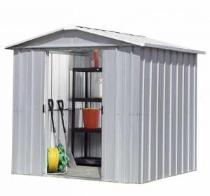8' x 6' Yardmaster Silver Metal Shed 68ZGEY Open Door