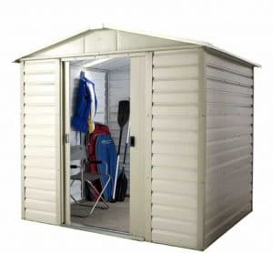 8' x 6'6 Yardmaster Shiplap Metal Shed 86SL+ With Floor Support Kit + Double Door Open
