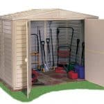 8 x 8 StoreMore Steel Framed Vinyl Clad Apex Metal Shed Open Doors