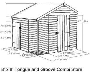 8 x 8 Tongue and Groove Combi Store Overall Dimensions