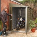 8'8 x 5'3 Trimetals MCG950 Motorcycle Metal Garage Double Doors Open
