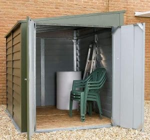 8'8 x 6' Trimetals Titan 960 Pent Metal Shed Open Doors