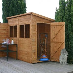 8x4 Waltons Tongue and Groove Pent Garden Shed Single Open Door