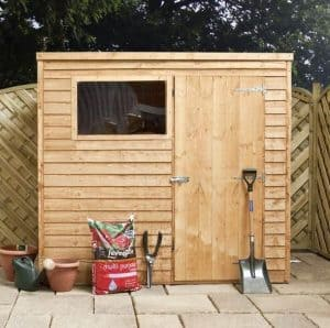 8x6 Waltons Overlap Pent Wooden Shed Front View