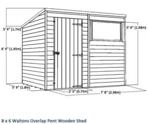 8x6 Waltons Overlap Pent Wooden Shed Overall View