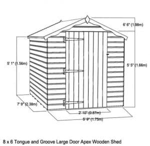 8x6 Waltons Tongue and Groove Large Door Apex Wooden Shed Overall View