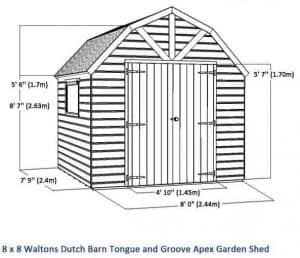 8x8 Premiere Groundsman Dutch Barn Shed (No Windows) Overall Dimensions