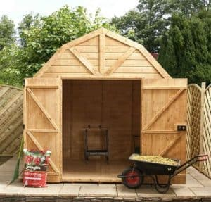 8x8 Waltons Dutch Barn Tongue and Groove Apex Garden Shed Front Open Door