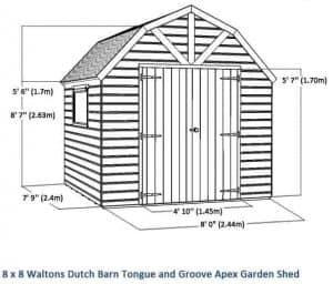 8x8 Waltons Dutch Barn Tongue and Groove Apex Garden Shed Overall View