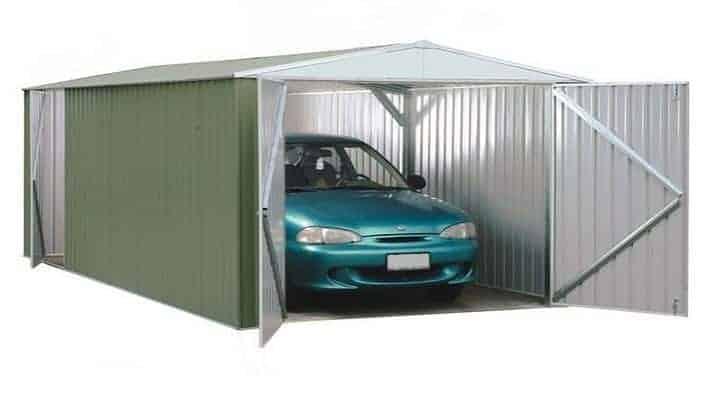 9' 10 x 19' 8 Waltons Pale Eucalyptus Easy Build Apex Metal Garage