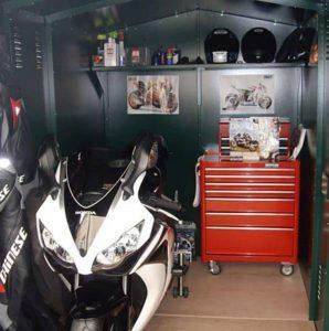 9 X 5 ASGARD MOTORCYCLE SECURE STORAGE GARAGE Inside