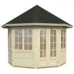 9' x 9' Palmako Veronica 28mm Log Cabin - 2 Windows - Closed Door