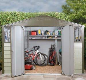 9'10 x 8' Trimetals Titan 108 Metal Shed Double Door Open