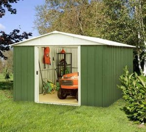 9'11 x 13' Yardmaster Green Metal Shed 1013GEYZ+ With Floor Support Kit