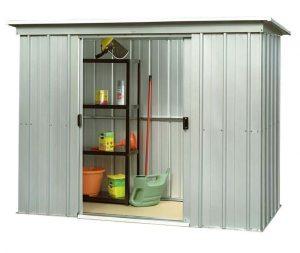9'11 x 3'11 Yardmaster Pent Metal Shed 104PZ+ With Floor Support Kit Open Door