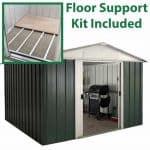 9'11 x 7'9 Yardmaster Green Metal Shed 108GEYZ+ With Floor Support Kit