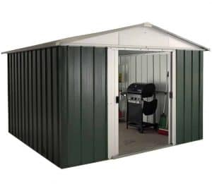 9'11 x 7'9 Yardmaster Green Metal Shed 108GEYZ+ With Floor Support Kit + Double Door Open