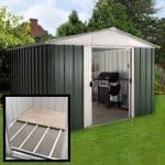 9'11 x 7'9 Yardmaster Green Metal Shed 108GEYZ+ With Floor Support Kit Included