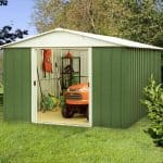 9'11 x 9'9 Yardmaster Green Metal Shed 1010GEYZ+ With Floor Support Kit