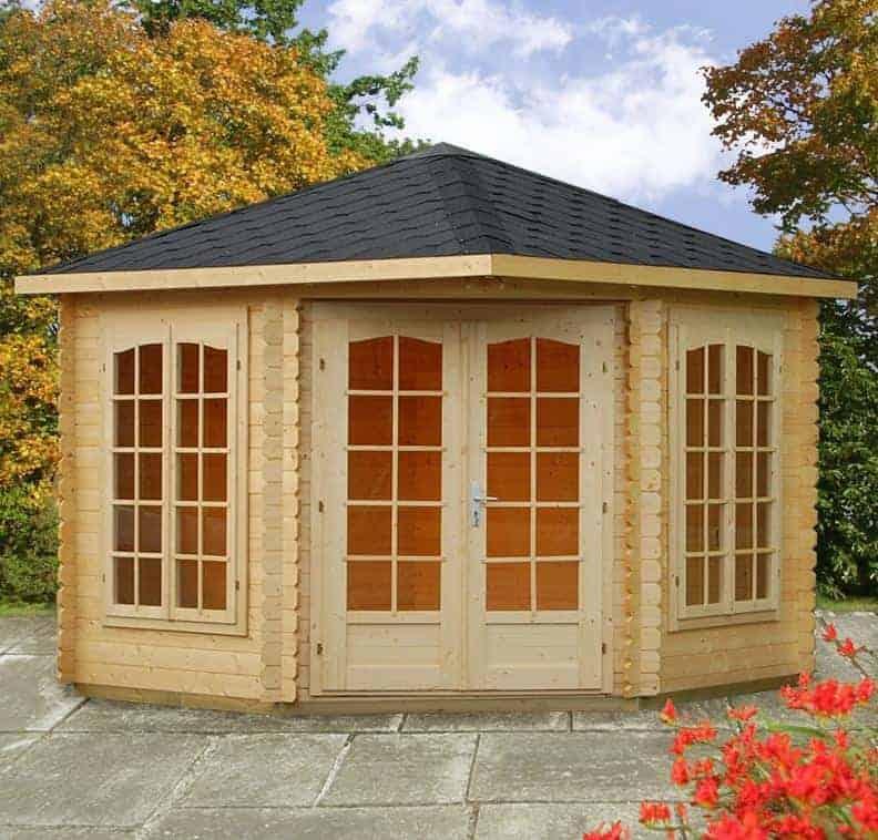 Palmako Melanie 2.8m x 2.8m Corner Log Cabin Summerhouse (44mm)
