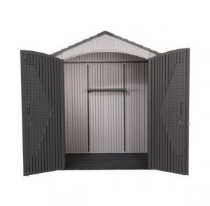 Lifetime 7 x 4.5 Apex Plastic Shed Wide Double Doors Open