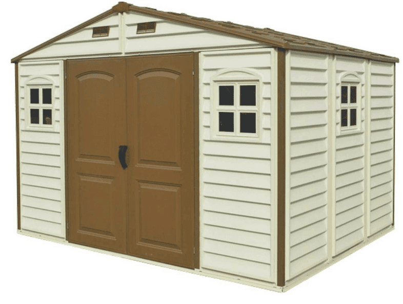 Duramax 10 x 8 Feet V2 Wood Side Vinyl Shed - Ivory/Brown