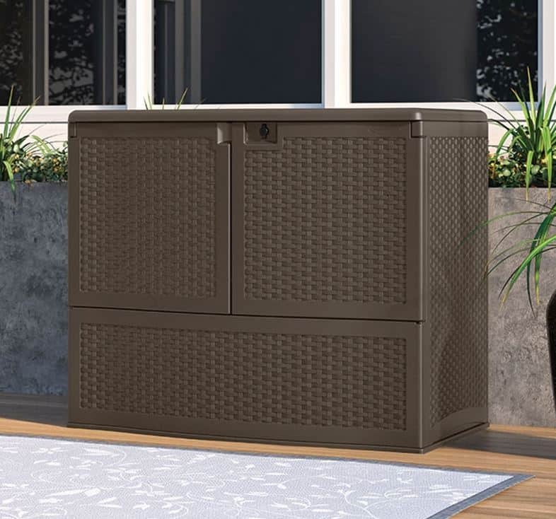 Suncast Vertical Deck Box With Shelf What Shed