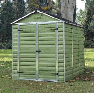 Waltons 6 x 8 Green Skylight Plastic Shed Side View