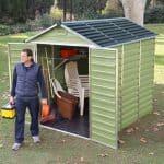 Waltons 6 x 8 Green Skylight Plastic Shed Wide Double Doors Open