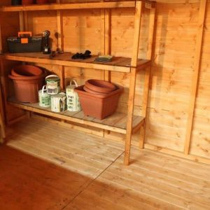 Woodland Trust 10 x 8 Heritage Reverse Apex Garden Shed internal view