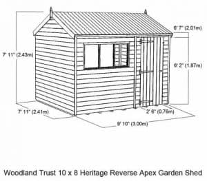 Woodland Trust 10 x 8 Heritage Reverse Apex Garden Shed overall dimensions