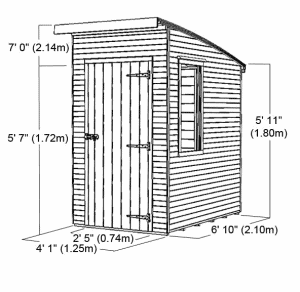 Woodland Trust 6 x 4 Kurva Curved Roof Shed Overall Dimensions