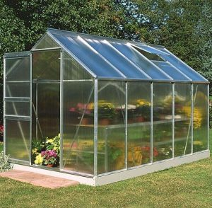 10 x 6 Halls Silver Aluminium Popular Greenhouse with Vent
