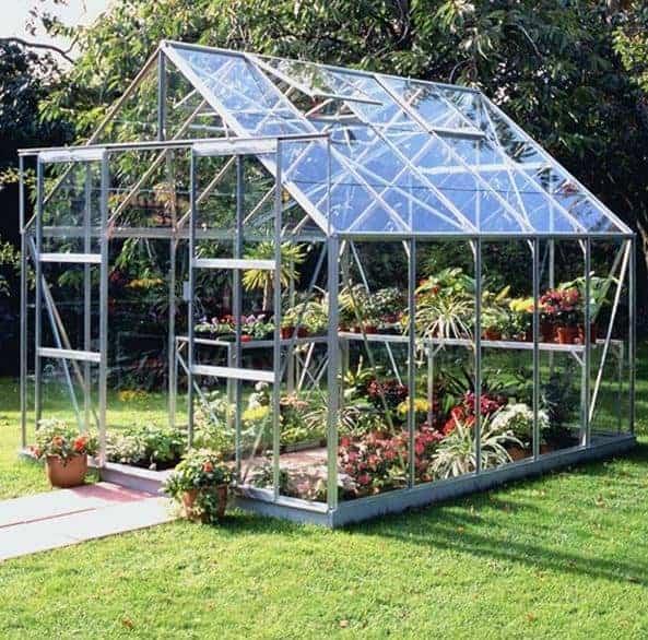 10 x 8 Halls Silver Aluminium Magnum Greenhouse with Vent