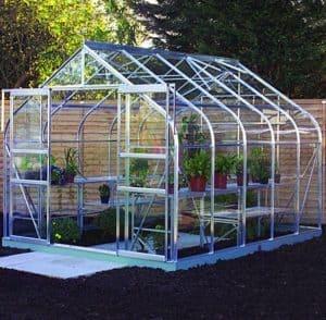 10 x 8 Halls Silver Aluminium Supreme Greenhouse with Vent