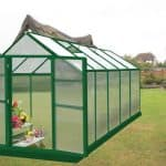 10' x 8 Nison Green Polycarbonate Greenhouse with Hinged Doors